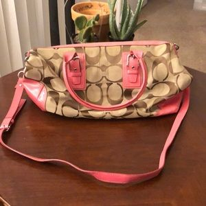 Coach Handbag with Pink Leather Details